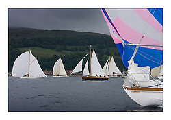 The Class two start with Rosemary's bow motif and Fyne and Ayrshire lass to leeward...The final day's racing on the King's Course North of Cumbrae...* The Fife Yachts are one of the world's most prestigious group of Classic .yachts and this will be the third private regatta following the success of the 98, .and 03 events.  .A pilgrimage to their birthplace of these historic yachts, the 'Stradivarius' of .sail, from Scotland's pre-eminent yacht designer and builder, William Fife III, .on the Clyde 20th -27th June.   . ..More information is available on the website: www.fiferegatta.com . .Press office contact: 01475 689100         Lynda Melvin or Paul Jeffes