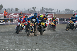 Hooligan racer and season points leader Andy DiBrino racing his No.1 Harley-Davidson along with No.27 Jordan Baber with others on the flat track at the RSD Moto Beach Classic. Huntington Beach, CA, USA. Saturday October 27, 2018. Photography ©2018 Michael Lichter.
