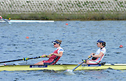 Reading. United Kingdom.  GBR W2-. Ro BRADBURY and Olivia CARNEGIE-BROWN, in the opening strokes of the morning time trial. 2014 Senior GB Rowing Trails, Redgrave and Pinsent Rowing Lake. Caversham.<br /> <br /> 10:44:30  Saturday  19/04/2014<br /> <br />  [Mandatory Credit: Peter Spurrier/Intersport<br /> Images]