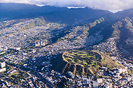 Aerial photograph of National Memorial Cemetary of the Pacific, Punchbowl Crater, Honolulu, Oahu, Hawaii