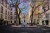 France, Paris (75), Saint-Germain-des-Près, la place de Furstemberg durant le confinement du Covid 19 // France, Paris, Saint-Germain-des-Près, the place of Furstemberg, during the lockdown of Covid 19