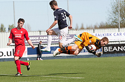 Falkirk's Rory Loy and Raith Rovers keeper Lee Robinson.<br /> Falkirk 2 v 1 Raith Rovers, Scottish Championship game played today at The Falkirk Stadium.<br /> © Michael Schofield.