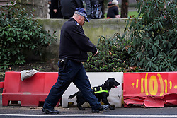 © Licensed to London News Pictures. 31/12/2016. London, UK. A police officer with a sniffer dog carries out security checks on road barriers around Parliament Square in Westminster, London ahead of tonight's New Year celebrations. Security surrounding this year's event has been heightened following a terrorist attack at a Christmas market in Berlin earlier this month. Photo credit: Ben Cawthra/LNP