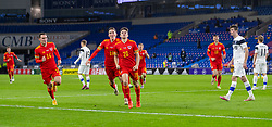 CARDIFF, WALES - Wednesday, November 18, 2020: Wales' Daniel James (R) celebrates after scoring the second goal during the UEFA Nations League Group Stage League B Group 4 match between Wales and Finland at the Cardiff City Stadium. Wales won 3-1 and finished top of Group 4, winning promotion to League A. (Pic by David Rawcliffe/Propaganda)