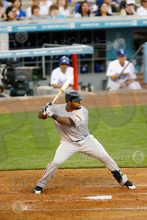 31 March 2011: Giants third basemen #48 Pablo Sandoval at bat as the San Francisco Giants were defeated 2-1 by the Los Angeles Dodgers  during a sold out game at Dodger Stadium in Los Angeles, California on opening day..***** Editorial Use Only *****