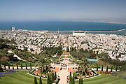 Israel, Haifa, The Bahai Gardens, Haifa port in the background.