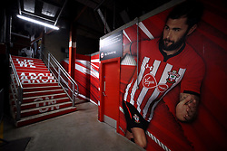 A picture of Southampton's Charlie Austin in the concourse of a stand at the ground ahead of the Premier League match at St Mary's Stadium.