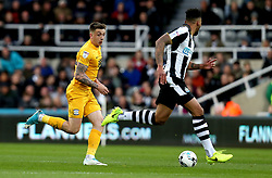 Jordan Hugill of Preston North End runs with the ball - Mandatory by-line: Robbie Stephenson/JMP - 24/04/2017 - FOOTBALL - St James Park - Newcastle upon Tyne, England - Newcastle United v Preston North End - Sky Bet Championship