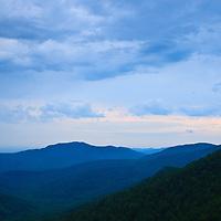 An overcast sunrise seen from Skyline Drive, Shenandoah National Park, Virginia.
