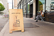 The exterior of The Ace Hotel in downtown Portland, a hip budget boutique hotel.