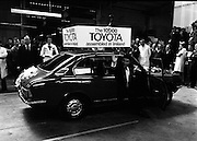 Toyota roll out 10,000th car assembled in Ireland..(L18)..1977..26.05.1977..05.26.1977..26th May 1977..Today saw the rolling out of the 10,000th car to come off the assembly line at Toyota Irl.,Ltd. The car,a Corolla,is part of a range that has made Toyota the fourth best selling range of cars in Ireland..Workers celebrate as Mr Tim Mahony is pictured driving the car off the ramp at the assembly plant at John F Kennedy Park, Dublin.