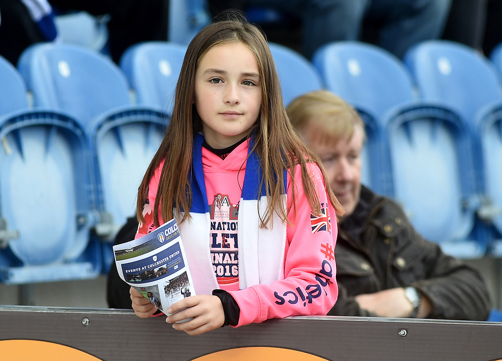 fans enjoy the pre-match atmosphere <br /> <br /> Photographer Hannah Fountain/CameraSport<br /> <br /> The EFL Sky Bet League Two - Colchester United v Mansfield Town - Saturday 7th October 2017 - Colchester Community Stadium - Colchester<br /> <br /> World Copyright © 2017 CameraSport. All rights reserved. 43 Linden Ave. Countesthorpe. Leicester. England. LE8 5PG - Tel: +44 (0) 116 277 4147 - admin@camerasport.com - www.camerasport.com