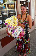 Flower lei seller, Front Street, Lahaina, Maui, Hawaii