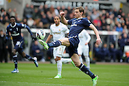 Tottenham's Jan Vertonghen controls the ball as he goes on to score his sides 1st goal. Barclays Premier League, Swansea city v Tottenham Hotspur at the Liberty Stadium in Swansea, South Wales on Saturday 30th March 2013. pic by Andrew Orchard, Andrew Orchard sports photography,
