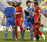 Photo: Aidan Ellis.<br /> Leicester City v Watford. Coca Cola Championship. 25/08/2007.<br /> Tempers flare as Leicester's Patrick Kisnorbo squares up to Watford's Marlon King