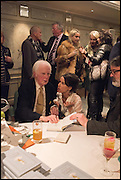 BRIAN SEWELL; SALLY ANN LASSON Fortnum and Mason and Quartet books host a celebration for the publication of  The White Umbrella by Brian Sewell. Illustrated by Sally Ann Lasson. Fortnum and Mason. Piccadilly. London. 3 March 2015.