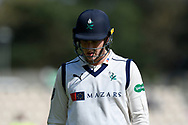 Wicket - Harry Brook of Yorkshire looks dejected as he walks back to the pavilion after being dismissed by Fidel Edwards of Hampshire during the Specsavers County Champ Div 1 match between Hampshire County Cricket Club and Yorkshire County Cricket Club at the Ageas Bowl, Southampton, United Kingdom on 11 April 2019.