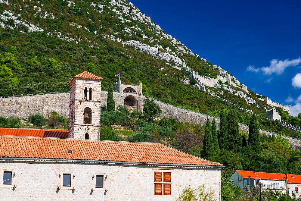 The Great Wall above the city center, Ston, Dalmatian Coast, Croatia