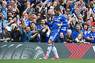 Chelsea forward Pedro (11) celebrates his goal during the Premier League match between Chelsea and Sunderland at Stamford Bridge, London, England on 21 May 2017. Photo by John Potts.