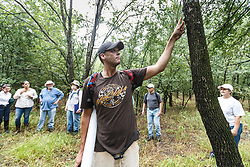 Conservationists and city employees meeting at Big Spring, Great Trinity Forest, Dallas, Texas, USA