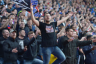 a Crystal Palace  fan chanting during the 1st half. Barclays Premier League match, Crystal Palace v West Bromwich Albion at Selhurst Park in London on Saturday 3rd October 2015.<br /> pic by John Patrick Fletcher, Andrew Orchard sports photography.