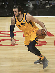 November 30, 2017 - Los Angeles, California, United States of America - Ricky Rubio #3 of the Utah Jazz during their game with the Los Angeles Clippers on Thursday November 30, 2017 at the Staples Center in Los Angeles, California. Clippers lose to Jazz, 126-107. JAVIER ROJAS/PI (Credit Image: © Prensa Internacional via ZUMA Wire)