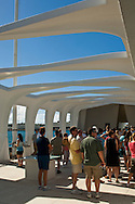 Tourists at the USS Arizona Memorial, Pearl Harbor, Oahu, Hawaii