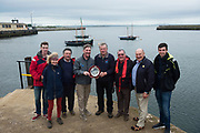 02/07/2017 REPRO FREE: Dr. Peter Heffernan CEO Marine Institute presenting Colin Hernon with the trophy for winning the Hooker race at  Seafest 2017, the National Maritime Festival which ran in Galway  . Photo:Andrew Downes, xposure .