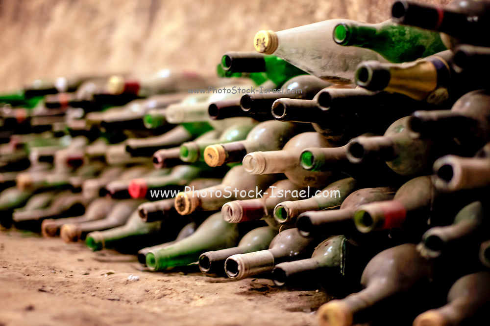 Empty dusty wine bottles