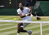 Tennis - 2017 Wimbledon Championships - Week One, Thursday [Day Four]<br /> <br /> Men's Singles, Second Round match<br /> Gael Monfils  (FRA) v Kyle Edmund (GBR) <br /> <br /> Gael Monfils on Centre Court <br /> <br /> COLORSPORT/ANDREW COWIE