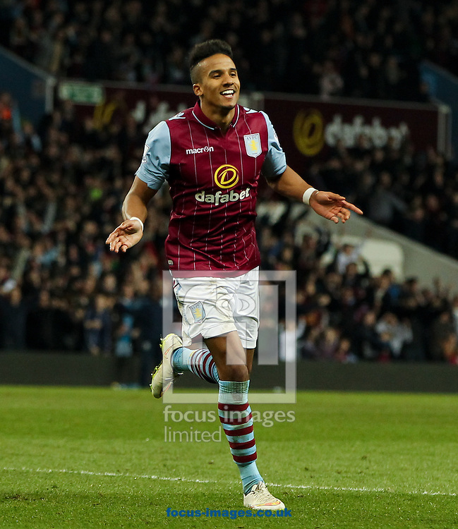 Scott Sinclair of Aston Villa celebrates scoring his sides second goal during the FA Cup match at Villa Park, Birmingham<br /> Picture by Tom Smith/Focus Images Ltd 07545141164<br /> 07/03/2015