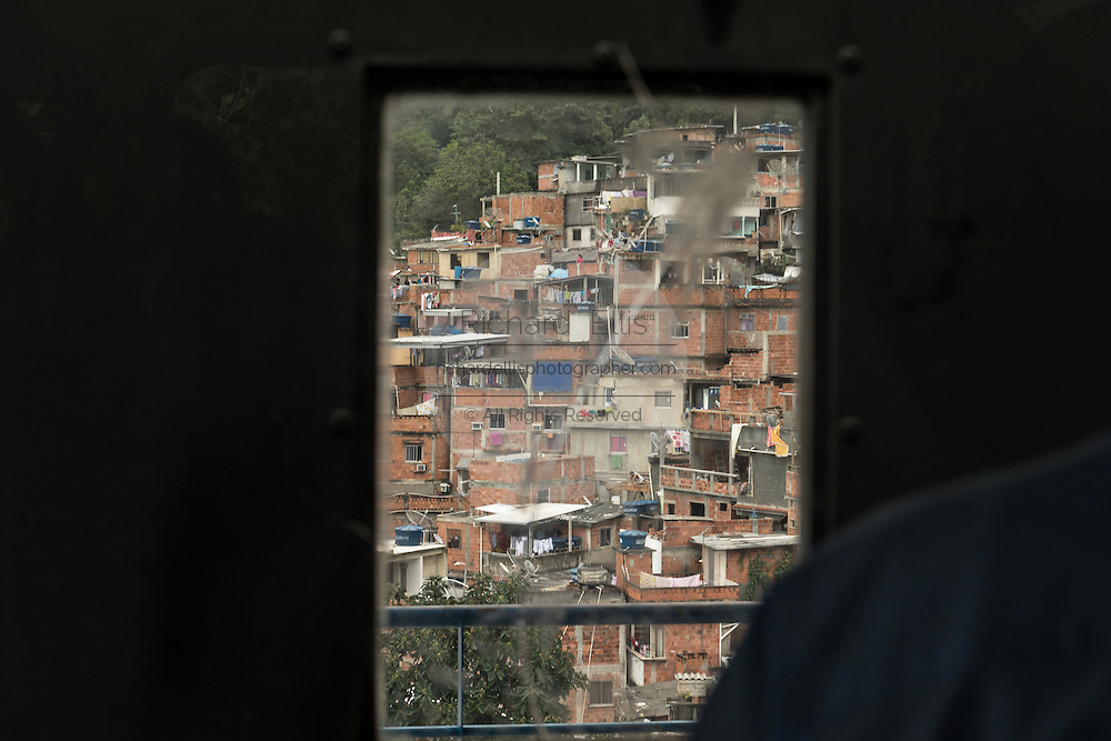 View of the Favela Santa Marta from inside the funicular cable tram in Rio de Janeiro, Brazil.