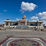 Mongolia. people on Sukhe bator square, the city center of  Ulaanbaatar, mongolia