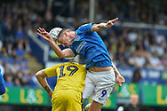 Portsmouth Forward, Oliver Hawkins (9) wins a header during the EFL Sky Bet League 1 match between Portsmouth and Oxford United at Fratton Park, Portsmouth, England on 18 August 2018.
