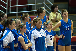 26 September 2006: St. Louis University Billikens stand at the corner of the court watching the Redbirds warm up before the beginning of the first game. The match was tough and it took the Illinois State Redbirds 5 games to defeat the St. Louis University Billikens. The match took place at Redbird Arena on the campus of Illinois State University in Normal Illinois.