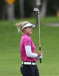 April 13, 2018 - Kapolei, HI, U.S. - KAPOLEI, HI - APRIL 13: Brooke Henderson of Canada reacts after watching her approach shot on the ninth hole during the third round of the LPGA Tour LOTTE Championship at the Ko Olina Golf Club, Friday, April 13, 2018, in Kapolei, HI. (Photo by Darryl Oumi/Icon Sportswire) (Credit Image: © Darryl Oumi/Icon SMI via ZUMA Press)