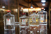 Detail shot of perfume bottles in Farina 1709, the original Eau de Cologne shop and museum, Cologne.