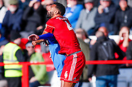 Accrington Stanley defender Michael Ihiekwe (4), on loan from Rotherham United,  climbs highest during the EFL Sky Bet League 1 match between Accrington Stanley and Portsmouth at the Fraser Eagle Stadium, Accrington, England on 27 October 2018.