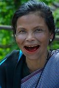 Khasi woman chewing Betel nut<br /> Sohra<br /> Meghalaya,  ne India