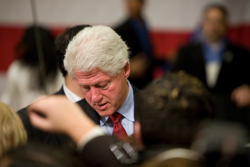 Bill Clinton at a pre-primary rally for Hillary Clinton at Rhode Island College, February 28, 2008.