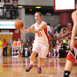 Feb 24, 2009; Piscataway, NJ, USA; Rutgers forward Heather Zurich (21) passes to the guard Epiphanny Prince (not pictured) during the first half of Rutgers' 71-53 victory over Cincinnati at the Louis Brown Athletic Center.