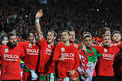 Gareth Bale of Wales celebrates with his team mates as they qualify for Euro 2016 - Mandatory byline: Dougie Allward/JMP - 07966 386802 - 13/10/2015 - FOOTBALL - Cardiff City Stadium - Cardiff, Wales - Wales v Andorra - European Qualifier 2016 - Group B