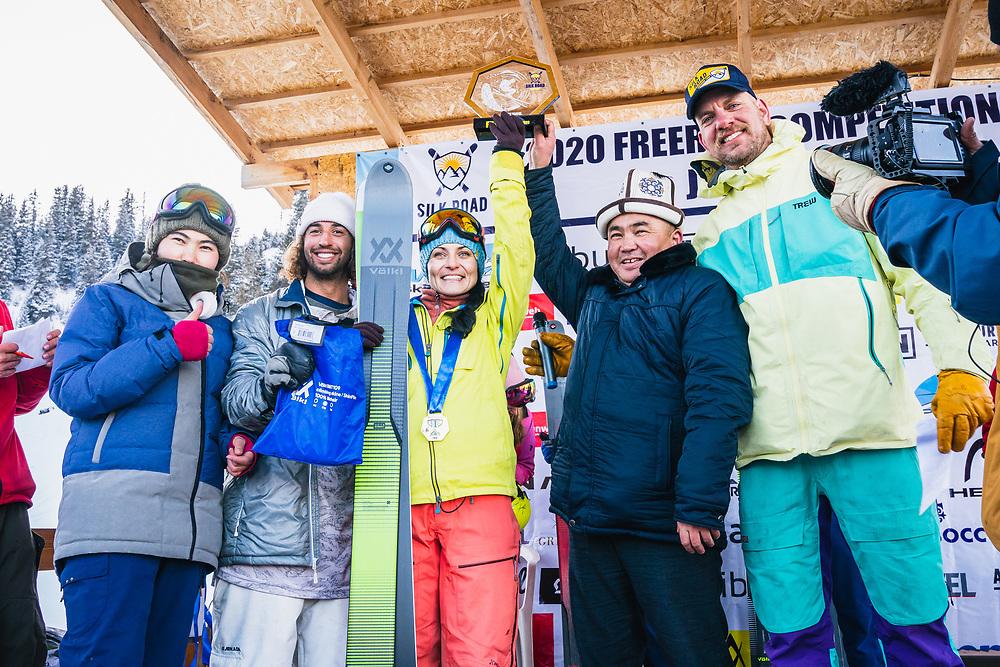 Lidia Zvoznikova 1st place women's - Day 4 Silk Road Freeride Competition, Jyrgalan, KG.