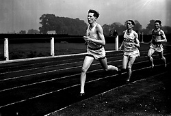 File photo dated 16-03-1948 of Roger Bannister (front) represents Oxford University during the Inter-Varsity mile event at the white City in London