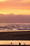 Image of Cannon Beach at sunset, Oregon, Pacific Northwest, model released by Andrea Wells