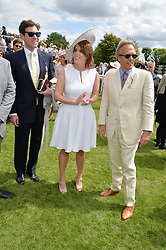 JACK BROOKSBANK, HRH PRINCESS EUGENIE OF YORK and the EARL OF MARCH at the Qatar Goodwood Festival - Ladies Day held at Goodwood Racecourse, West Sussex on 30th July 2015.
