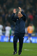 Cardiff City manager Neil Warnock applauds the fans at the end of the match after his team win 3-1. EFL Skybet championship match, Cardiff city v Leeds Utd at the Cardiff city stadium in Cardiff, South Wales on Tuesday 26th September 2017.<br /> pic by Andrew Orchard, Andrew Orchard sports photography.