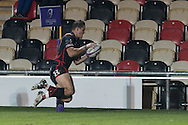 Hallam Amos of the Newport Gwent Dragons scores a try in the corner. European Challenge cup pool 3 match, Newport Gwent Dragons v Brive, at Rodney Parade in Newport, South Wales on Friday 14th October 2016.<br /> pic by  Simon Latham, Andrew Orchard sports photography.