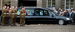 """Barer party made up of Soldiers from The Yorkshire Regiment await the arrival of Corporal Liam Rileys Coffin outside Sheffield Cathedral where his Funeral service took place on Wednesday 24 February.   ..Corporal Riley of 3rd Battalion Yorkshire Regiment who died in an explosion in Afghanistan on 1 February 2010 while on foot patrol south of the Kings Hill check point Helmand. ..Upon hearing of Liam's death he was described by Price Harry as """"a legend"""""""