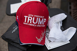 Jan 20, 2017 - Washington, District of Columbia, U.S. - A Trump red hat rests on a chair on Capitol Hill at the Inauguration of President Donald Trump. (Credit Image: © Karen Ballard via ZUMA Wire)